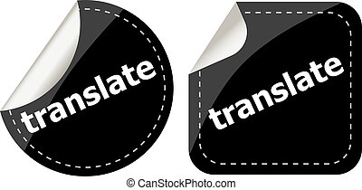 black translate stickers set on white, icon button