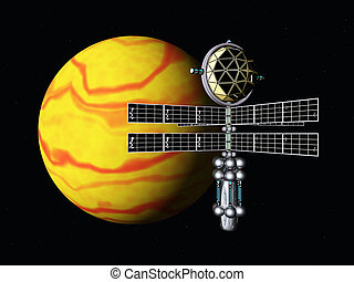 Yellow Planet with Space Probe - Computer generated 3D...