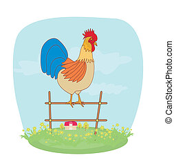 illustrations of crowing rooster on farm