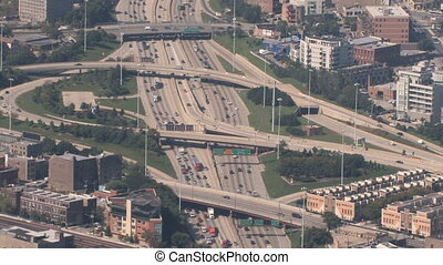 Interchange Aerial - Timelapse aerial view of highway...