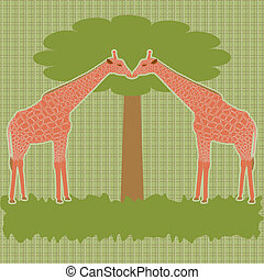 Two giraffes under tree vector - Vector card with two...