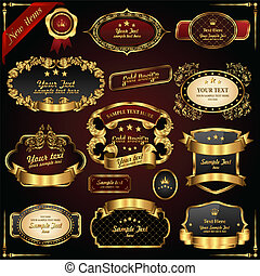 Retro vector gold frames Premium design elements