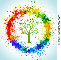 Color paint splashes eco background. Vector tree and frame.