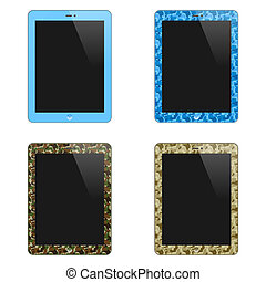 Realistic Concept Of Tablet PC With Blank Screen. For Boys And Men. Vertical. Isolated On White Background. Vector Illustration