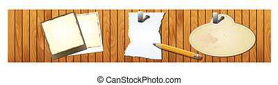 vector wood texture with notepad