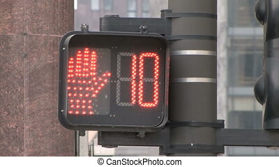 Traffic Light Countdown - Red Pedestrian Traffic Light in...