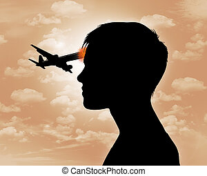 air crash effect - black silhouette of a woman with airliner...