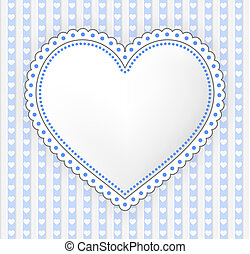 Decorated blue-gray heart label illustration - Blue-gray...