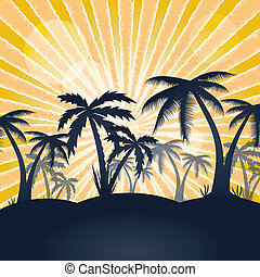 Summer holiday whit palm treesvector