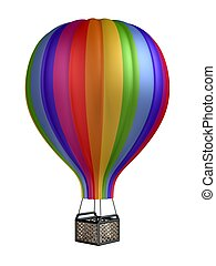 colorful hot air balloon isolated on white background