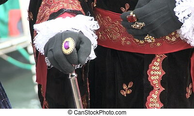 Disguised Man with scepter at Venice Carnival