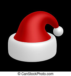 santa hat - red santa hat isolated on dark background
