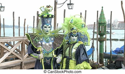 Masked Couple in Venice on Carnival - Zoom in disguised...