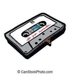 cassette tape - Hand drawn - The Abstract of cassette tape -...