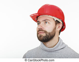 Construction worker in a red helmet.