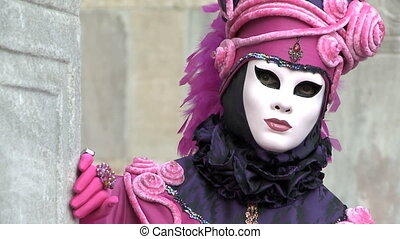 Close-Up pink costume Venice Carnival - Close-Up mask of...