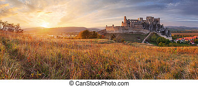 Slovakia Castle Beckov - sunset nature panorama
