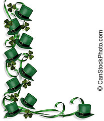 St Pattys Day Border hats - 3D Illustration for St Patricks...