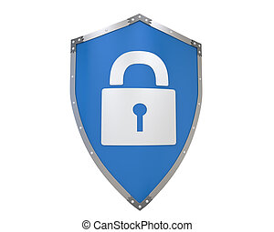 Blue Shield Lock isolated on white background. 3D render