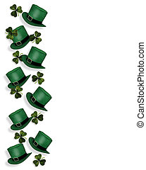St Pattys Day Border hats - 3D Illustration for St...