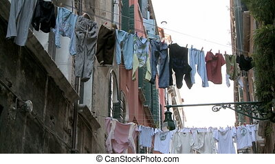 Clothes on washing line in the backyard in Venice