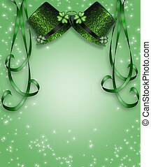 St Pattys Day Hats ribbons Border - 3D Illustration for St...