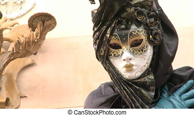 Masked person in Venice - Masked person at Venice Carnival