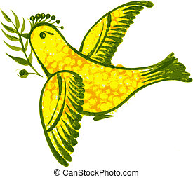birdie - hand drawn, vector, illustration in Ukrainian folk...