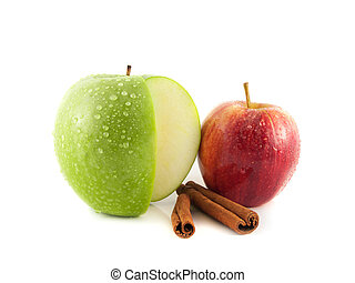Isolated sliced green and red apple cinnamon - Isolated...