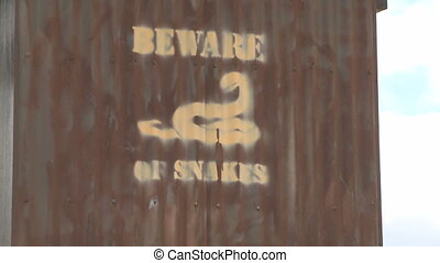 Beware of Snakes Sign at the John Edmondson Rest Area...
