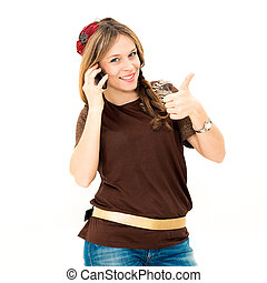 woman with phone and thumbs up gesture