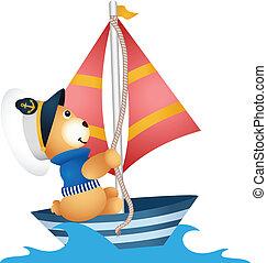 pelúcia, urso, marinheiro, bote