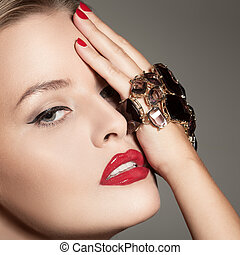 Fashion Portrait Of Beautiful Luxury Woman With Jewelry