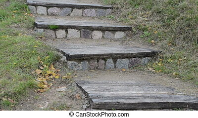 retro stair woman climb - closeup retro wooden stone stair...