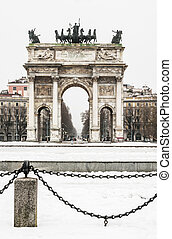 Arco della Pace - view of Arch of the Peace in Milan, Italy