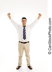 winning middle aged businessman with open palms