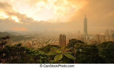 Tapei in the Clouds - Smog and thick clouds roll over...