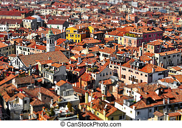 Venice roofs, in Italy, with tilt shift lens effect