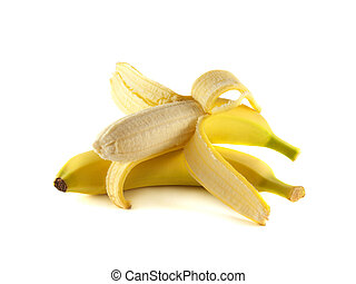 Two bananas isolated on white background (ripe, opened)....