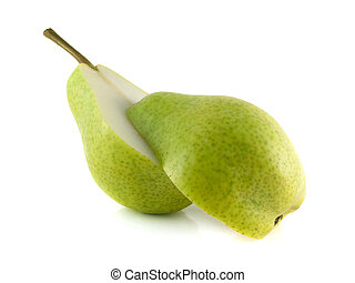 Two halfs of green pear on white background sliced Isolated...