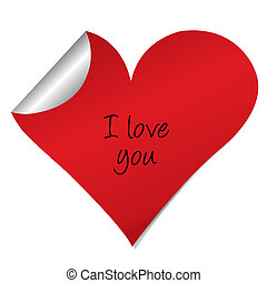 Heart sticker with i love you text