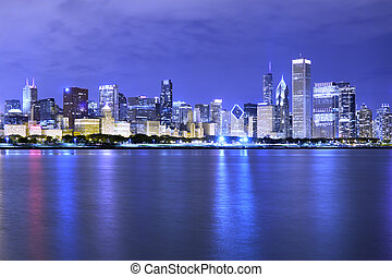 financial district night view Chicago