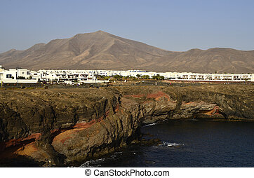 Playa Blanca, Lanzarote, settlement and volcanic cone