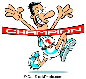 Champion.WBG. - Cartoon of champion, athlete, arms raised,...