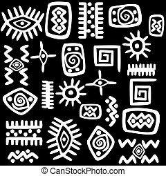 White African motifs set over black background