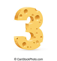 Digit of cheese - Number three Illustration on white for...