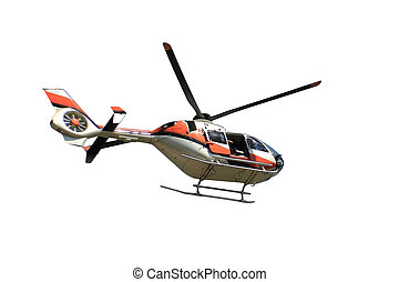 Flying helicopter of sky news isolated over white background