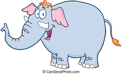 Elephant Cartoon Mascot Character - Happy Elephant Cartoon...