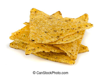 Tortilla chips - Corn tortilla chips isolated on white