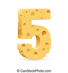 Digit of cheese - Number five Illustration on white for...